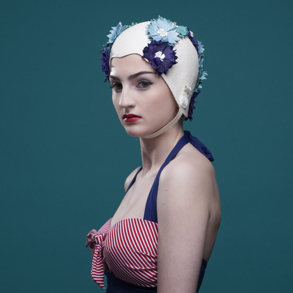 Jane Fryers millinery swim caps